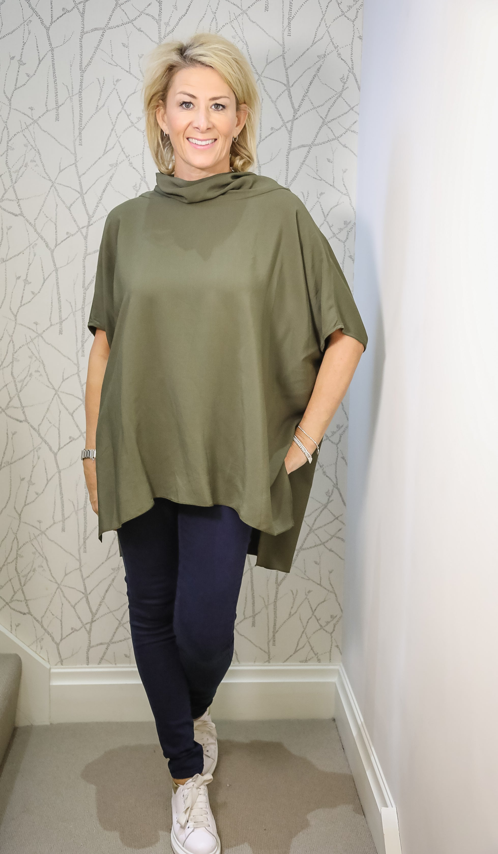 The oversized cowlneck top