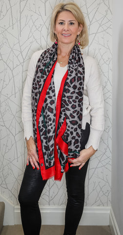 Dark red leopard scarf
