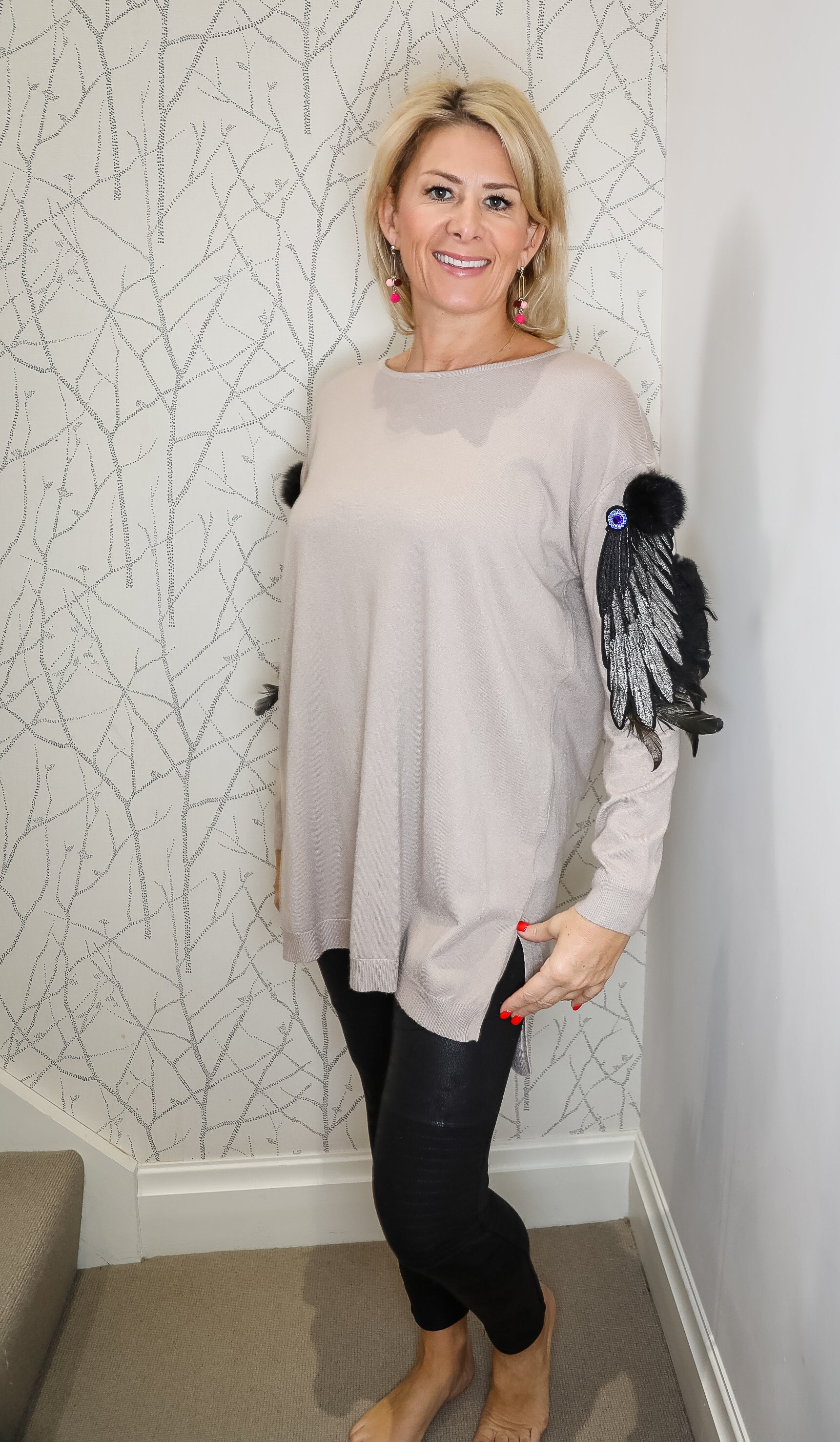 Feather sleeve jumper