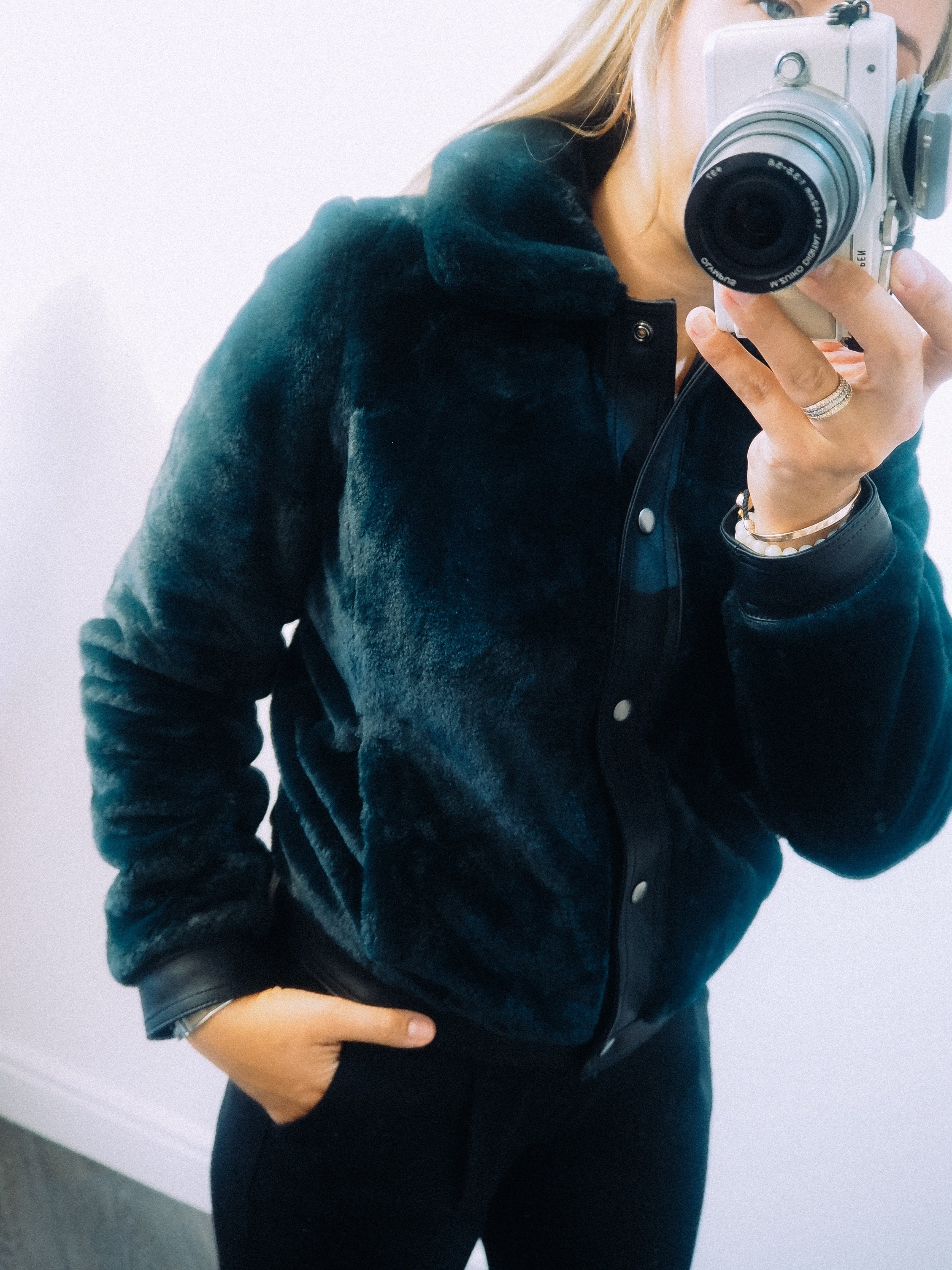 The Teal Faux fur bomber