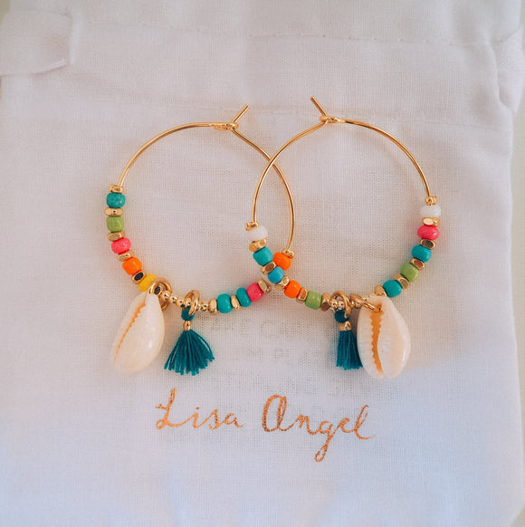 Rainbow bead and shell hoop earrings