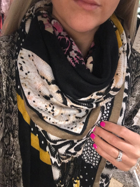 Print and colour block scarf
