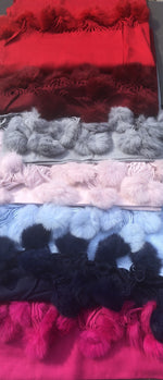 Cashmere Mix scarf with faux fur Pom pom