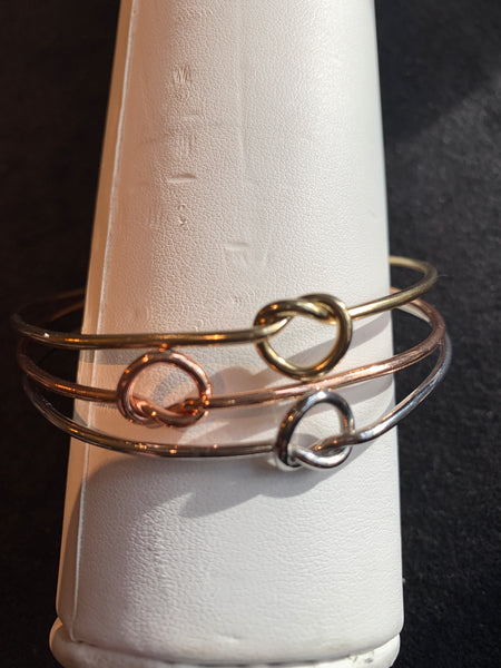 Gold, Rose Gold and Silver set of three bangles