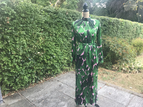 Green and pink leaf dress