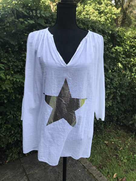 White lightweight star blouse