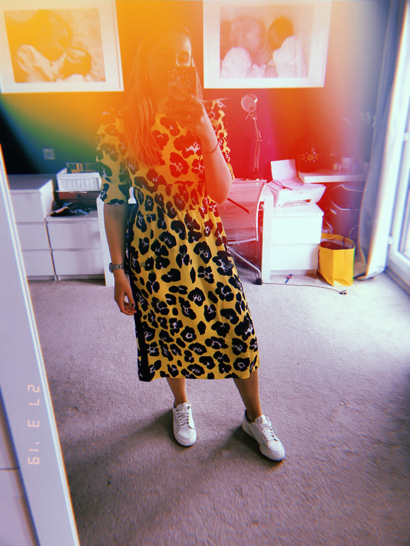 Sunshine yellow leopard dress