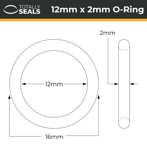 12mm x 2mm (16mm OD) FKM (Viton™) O-Rings - Totally Seals