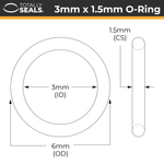 3mm x 1.5mm (6mm OD) Nitrile O-Rings - Totally Seals
