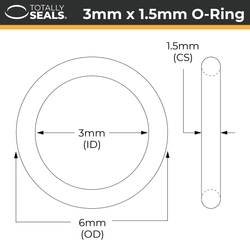 3mm x 1.5mm (6mm OD) Nitrile O-Rings