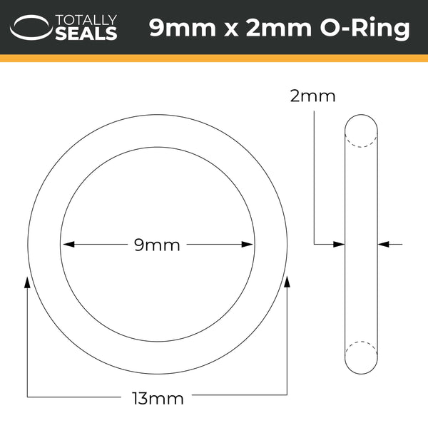 9mm x 2mm (13mm OD) FKM (Viton™) O-Rings - Totally Seals