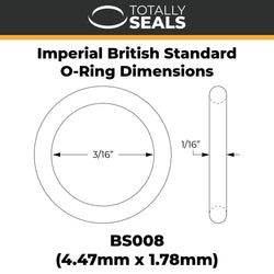 "3/16"" x 1/16"" (BS008) Imperial Nitrile O-Rings"