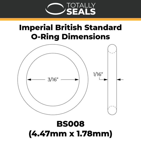 "3/16"" x 1/16"" (BS008) Imperial Nitrile O-Rings - Totally Seals"