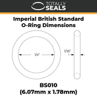 "1/4"" x 1/16"" (BS010) Imperial Nitrile O-Rings - Totally Seals®"