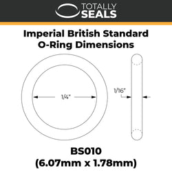 "1/4"" x 1/16"" (BS010) Imperial Nitrile O-Rings"
