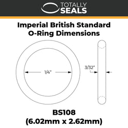 "1/4"" x 3/32"" (BS108) Imperial Nitrile O-Rings"