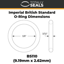 "3/8"" x 3/32"" (BS110) Imperial Nitrile O-Rings"