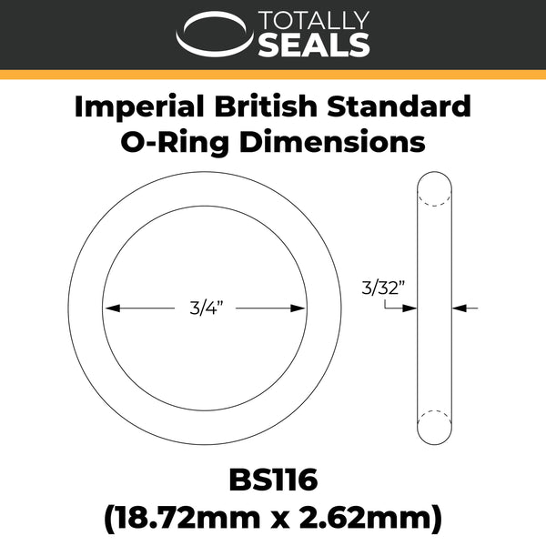 "3/4"" x 3/32"" (BS116) Imperial Nitrile O-Rings - Totally Seals"