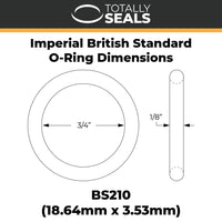 "3/4"" x 1/8"" (BS210) Imperial Nitrile O-Rings - Totally Seals"