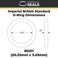 "13/16"" x 1/8"" (BS211) Imperial Nitrile O-Rings - Totally Seals"