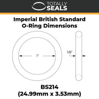 "1"" x 1/8"" (BS214) Imperial Nitrile Rubber O-Rings - Totally Seals®"