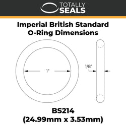 "1"" x 1/8"" (BS214) Imperial Nitrile Rubber O-Rings"