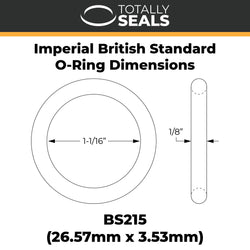 "1 1/16"" x 1/8"" (BS215) Imperial Nitrile Rubber O-Rings"