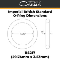 "1 3/16"" x 1/8"" (BS217) Imperial Nitrile Rubber O-Rings - Totally Seals®"
