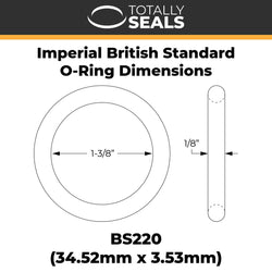 "1-3/8"" x 1/8"" (BS220) Imperial Nitrile O-Rings"