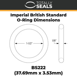 "1 1/2"" x 1/8"" (BS222) Imperial Nitrile Rubber O-Rings"