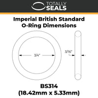 "3/4"" x 3/16"" (BS314) Imperial Nitrile O-Rings - Totally Seals®"