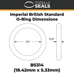 "3/4"" x 3/16"" (BS314) Imperial Nitrile O-Rings"