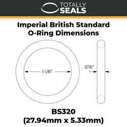 "1 1/8"" x 3/16"" (BS320) Imperial Nitrile Rubber O-Rings"