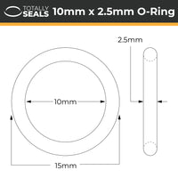 10mm x 2.5mm (15mm OD) Silicone O-Rings - Totally Seals®