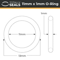 11mm x 1mm (13mm OD) Nitrile O-Rings - Totally Seals