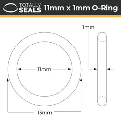 11mm x 1mm (13mm OD) Nitrile O-Rings