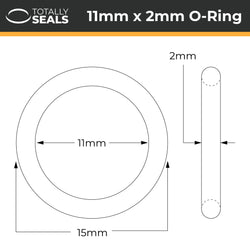11mm x 2mm (15mm OD) Silicone O-Rings