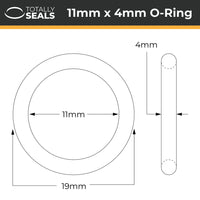 11mm x 4mm (19mm OD) Nitrile O-Rings - Totally Seals®
