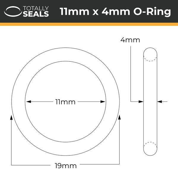 11mm x 4mm (19mm OD) Nitrile O-Rings - Totally Seals