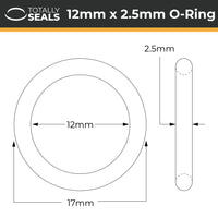 12mm x 2.5mm (17mm OD) Nitrile O-Rings - Totally Seals