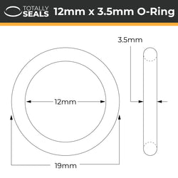 12mm x 3.5mm (19mm OD) Nitrile O-Rings