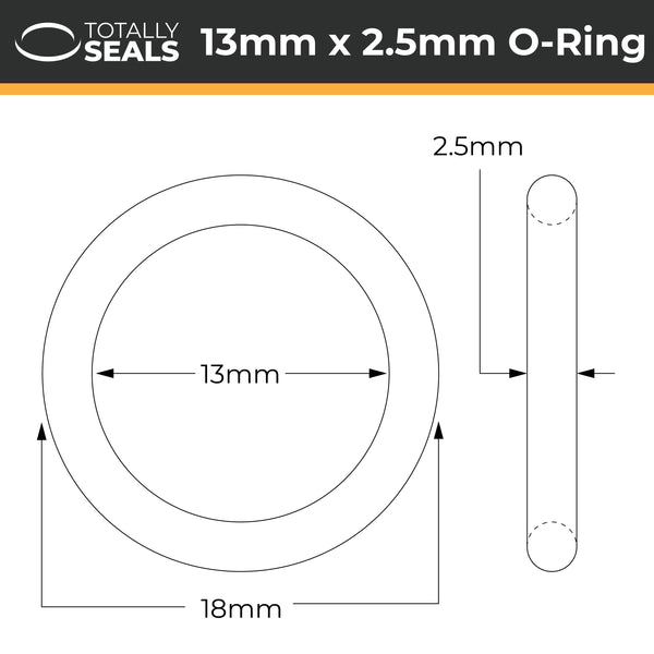 13mm x 2.5mm (18mm OD) FKM (Viton™) O-Rings - Totally Seals®