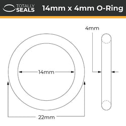 14mm x 4mm (22mm OD) Nitrile O-Rings