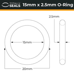 15mm x 2.5mm (20mm OD) Nitrile O-Rings