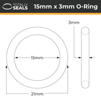 15mm x 3mm (21mm OD) Nitrile O-Rings - Totally Seals