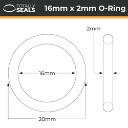 16mm x 2mm (20mm OD) Nitrile O-Rings