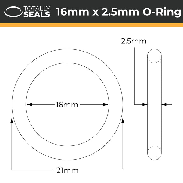 16mm x 2.5mm (21mm OD) FKM (Viton™) O-Rings - Totally Seals