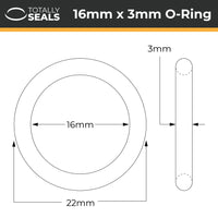 16mm x 3mm (22mm OD) Nitrile O-Rings - Totally Seals