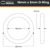 16mm x 5mm (26mm OD) Nitrile O-Rings - Totally Seals