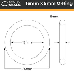 16mm x 5mm (26mm OD) Nitrile O-Rings